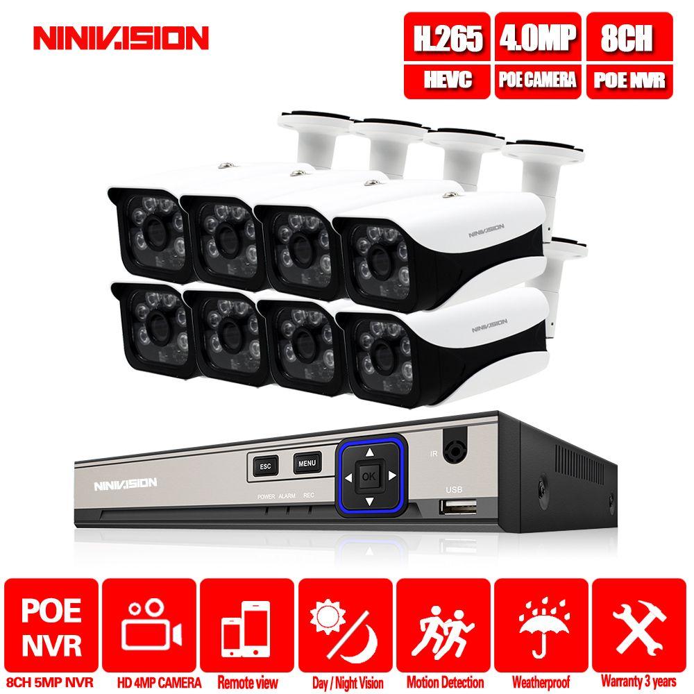 Hause 8CH CCTV Kamera System 48 V POE NVR Kit Onvif 5MP 4.0MP HD POE IP Kamera Wasserdicht Nachtsicht sicherheit Kamera System