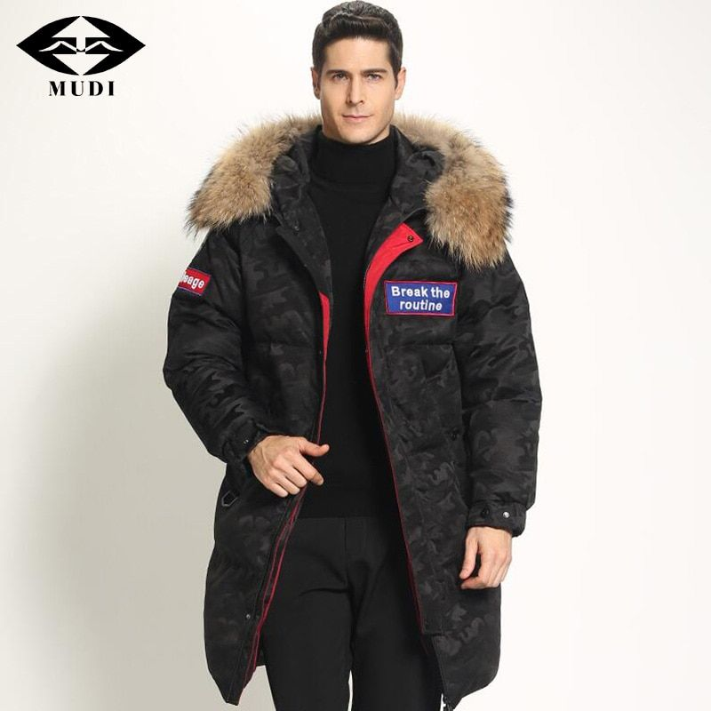 MUDI Super Thick Men's Down Coat Top Quality 90% White Duck Down Jacket with Fur Hood Long Winter Jacket Warm Parkas Overcoat