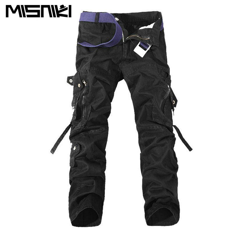 MISNIKI 2017 Top Fashion Multi-Pocket Solid Mens Cargo Pants High Quality Men Trousers Size 28-42