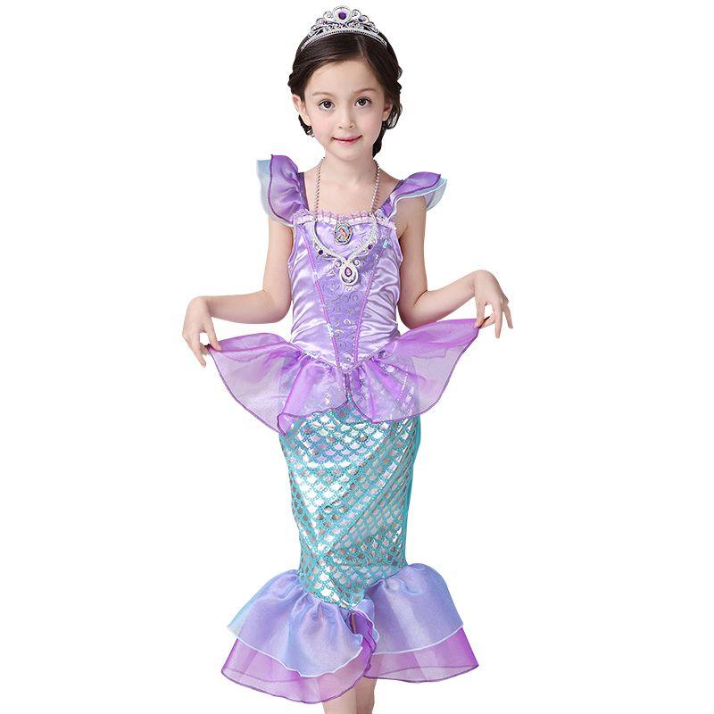 2018 Nouvelles Filles Robe Petite Sirène Fantaisie Habillé Enfants Vêtements Filles Sirène Robes Princesse Ariel Cosplay pour D'été De Natation