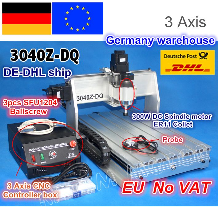 DE ship/Free VAT NEW 3 Axis 3040Z-DQ 300W Ball screw CNC ROUTER ENGRAVER/ENGRAVING DRILLING/Milling Cutting machine 220V/110V