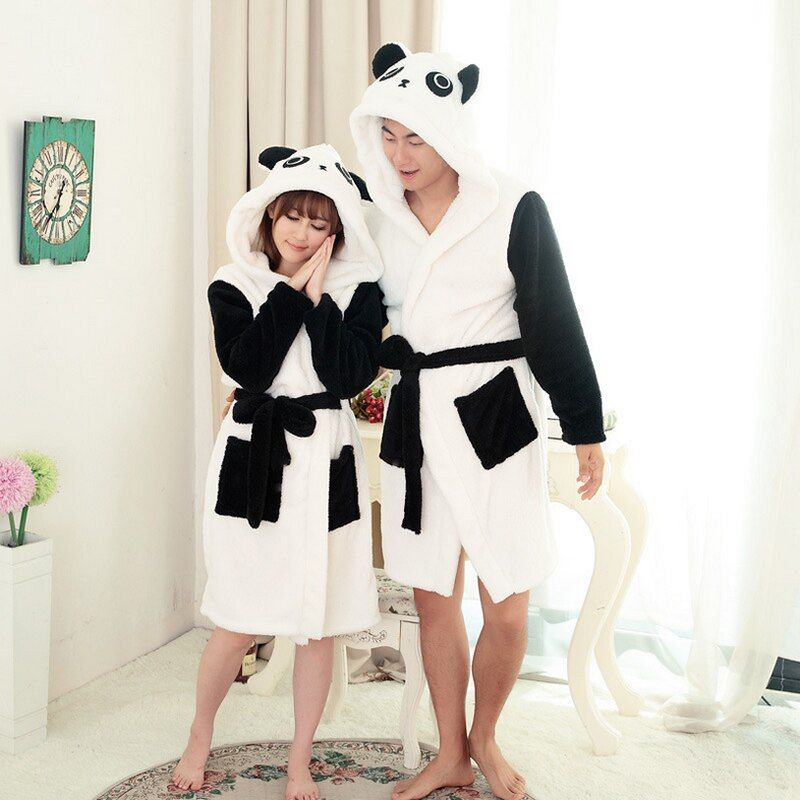 ANIMALCARTOON Panda Cartoon Robes for women Long Sexy robe d' Rabbit Stitch Cow Seep Animal Sleep Robe Bathrobe Women Nightgown