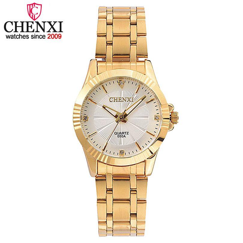 CHENXI Lujo de Oro Femenino Reloj de Cuarzo Relojes de Las Mujeres Señoras de La Joyería de Oro Correa de Reloj de pulsera de Moda de Cuarzo reloj de Las Mujeres