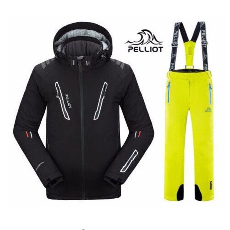 DHL Kostenloser Versand Authentische! 2018 Pelliot Ski Jacke + Hosen Männer der Wasser-proof, Atmungsaktiv Thermische Snowboard Heraus Mantel Männer Ski Anzüge