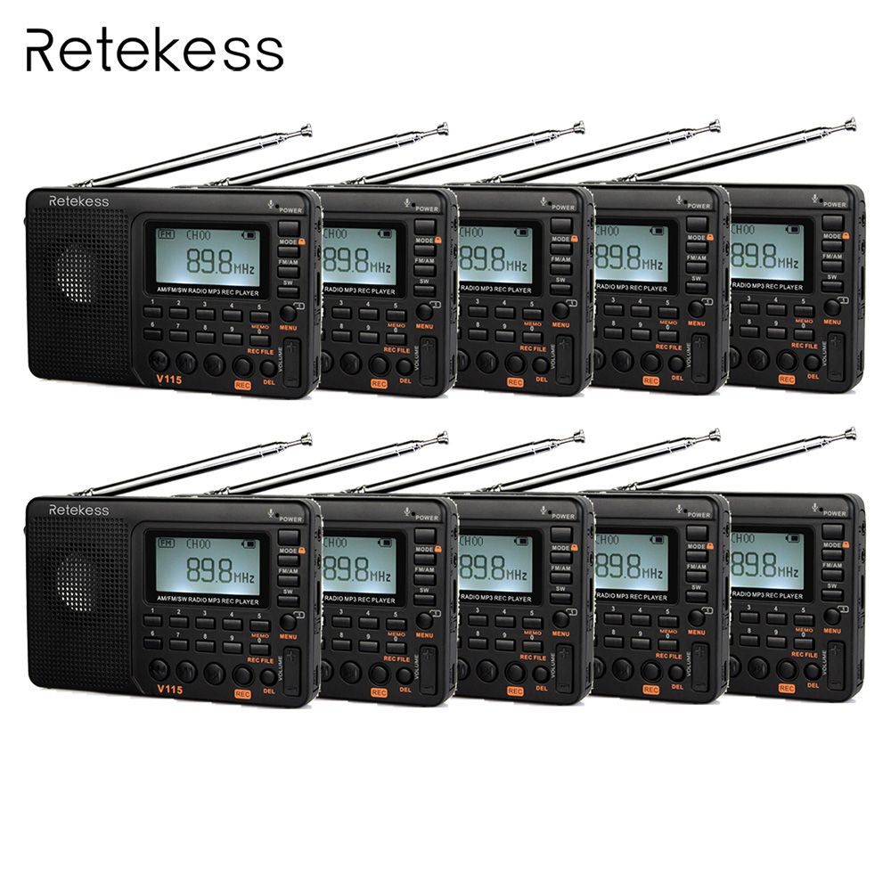10pcs Retekess V115 FM/AM/SW Shortwave Radio Receiver with MP3 Player REC Voice Recorder Sleep Timer