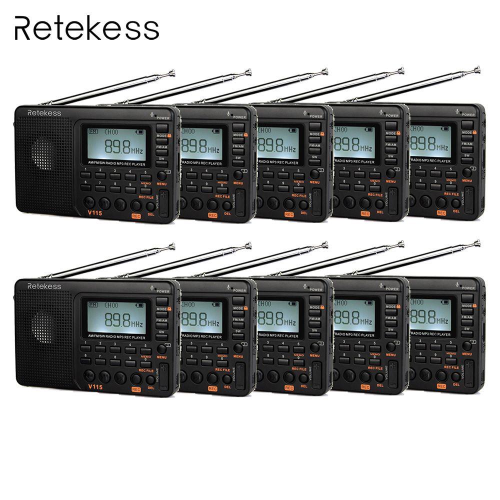 10 stücke Retekess V115 FM/AM/SW Kurzwellen Radio Empfänger mit MP3 Player REC Voice Recorder Schlaf Timer