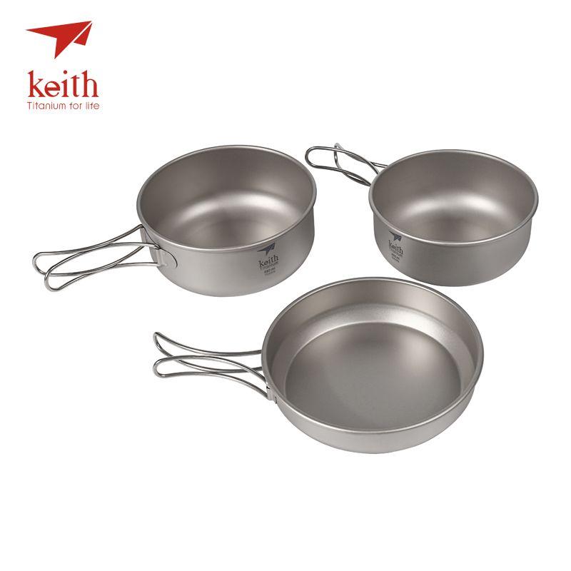 Keith 3Pcs Titanium Pans Bowls Set With Folding Handle Cook Sets Titanium Pot Set Camping Hiking Picnic Cookware Utensils Ti6053
