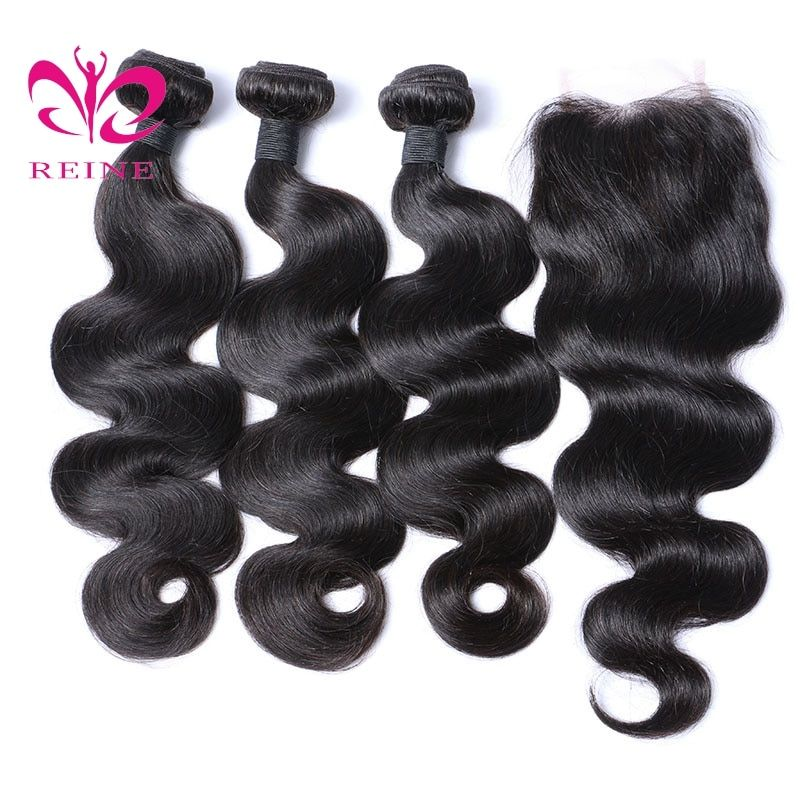 Reine store 2/3/4 bundles with closure <font><b>body</b></font> wave 8~26 inch available brazilian human hair natural color none remy hair free ship