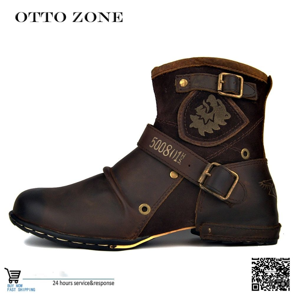 OTTO <font><b>ZONE</b></font> Men's Autumn/Winter Martin Boots Genuine Cow Leather High Top Ankle Boots Cotton-Padded Leather Shoes Size EU 38-45