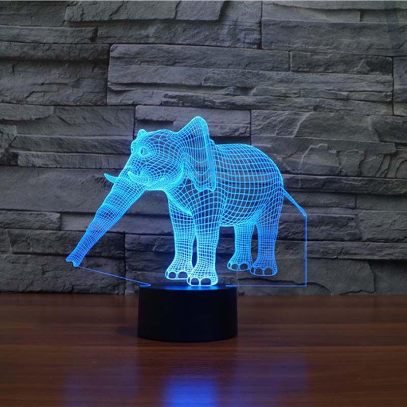 Étonnant 3d Illusion éléphant lampe LED veilleuses avec 7 couleurs lampe comme décoration de la maison mignon cadeaux pour garçons filles