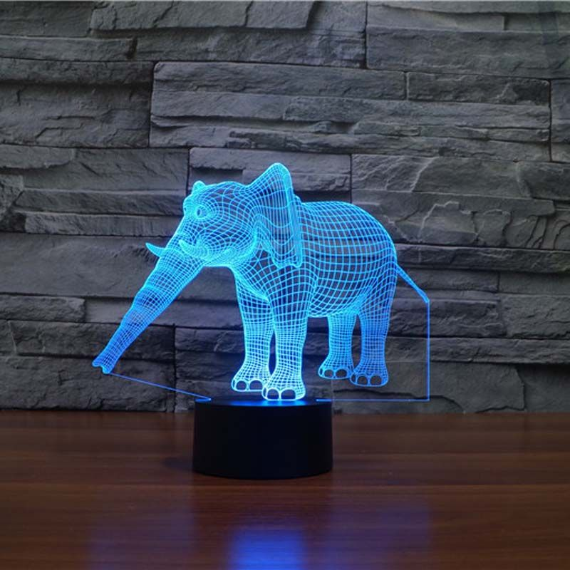 Incroyable 3d Illusion Lampe Éléphant Veilleuses LED avec 7 Couleurs Lampe comme Décoration De La Maison Cadeaux Mignons pour Les Filles de Garçons