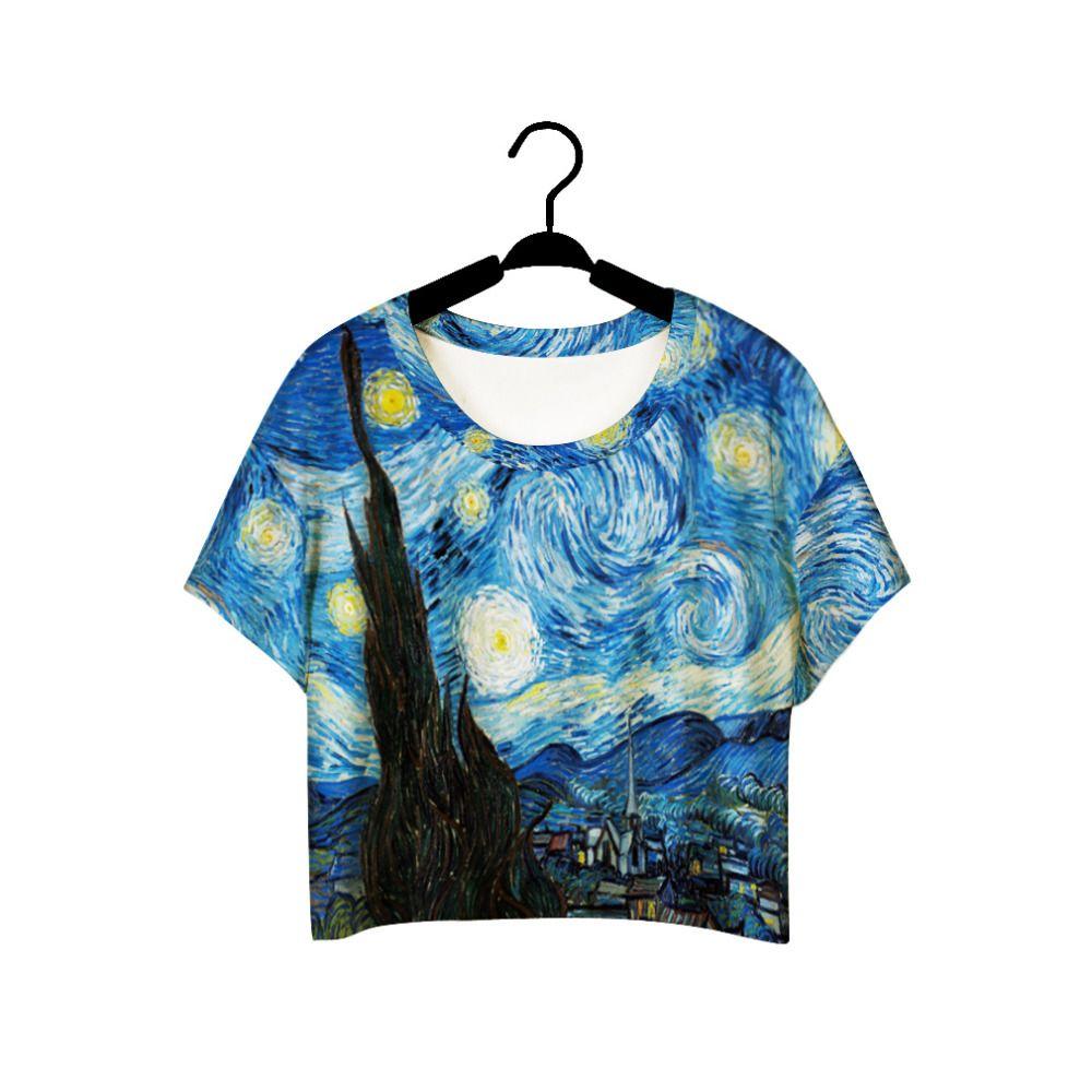 F978 D'été Harajuku Style Filles Van Gogh Loisirs Crop Top Graffiti Peinture Femmes Vintage T-shirt T-shirt