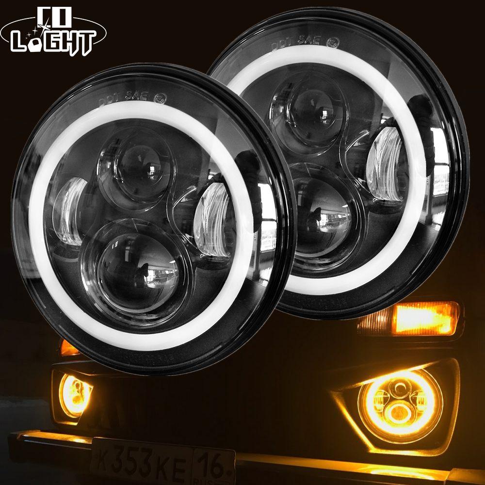 CO LIGHT 7 Inch Led <font><b>Headlight</b></font> H4 DRL Round 7'' <font><b>Headlights</b></font> with Yellow & White Angel Eye for Jeep Wrangler Lada Niva 4x4 50W 30W