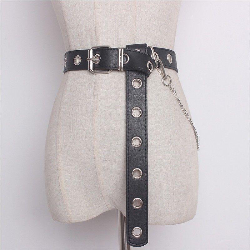 Newest Design Detachable Waist Belt Chain Punk Hip-hop Trendy Women Belts Lady Fashion silver Pin Buckle leather Waistband Jeans