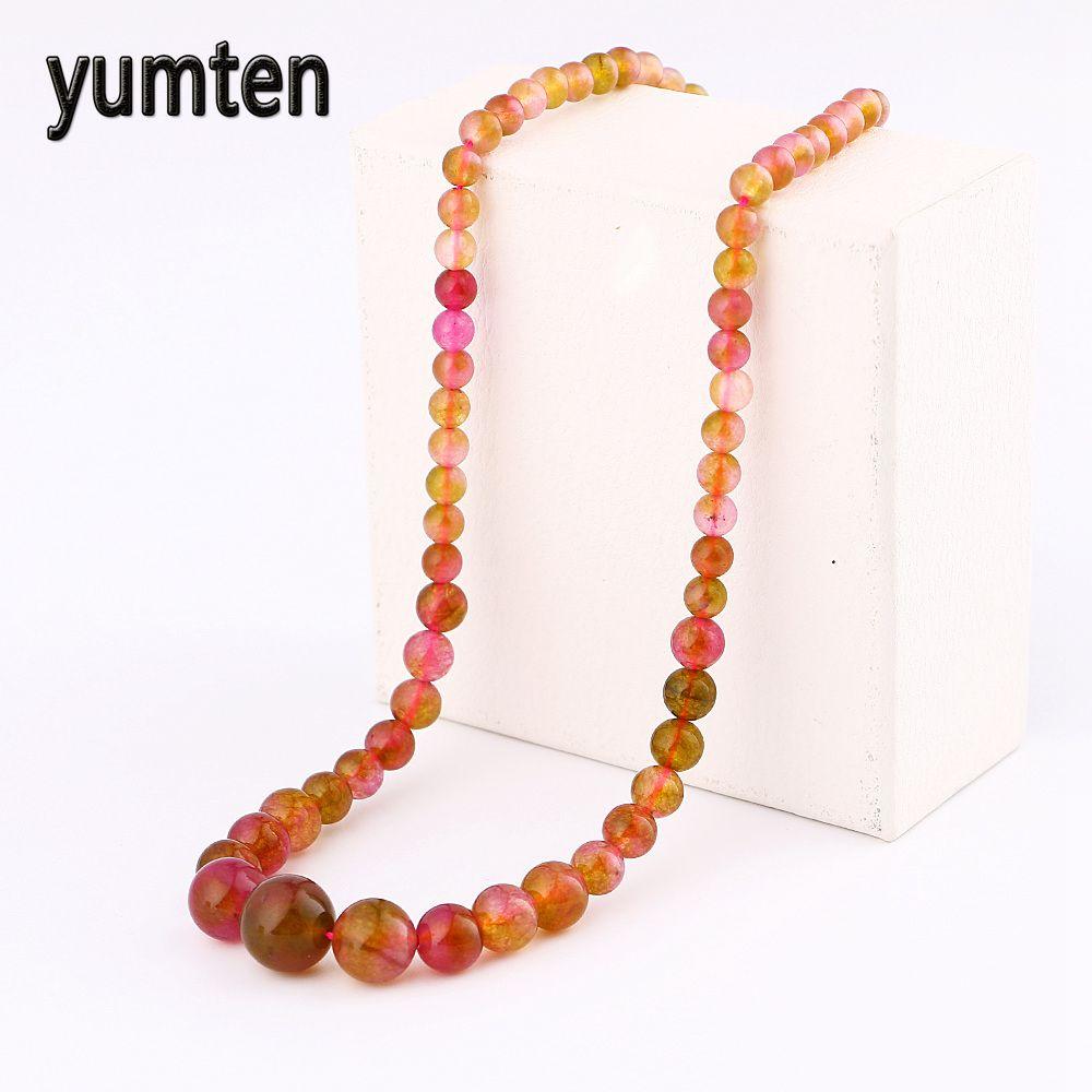 Yumten Agate Chain Necklace Natural Stone Power Crystal Women Jewelry Bead Bts Accessories Boho Bikini Bulldog Choker Chocker