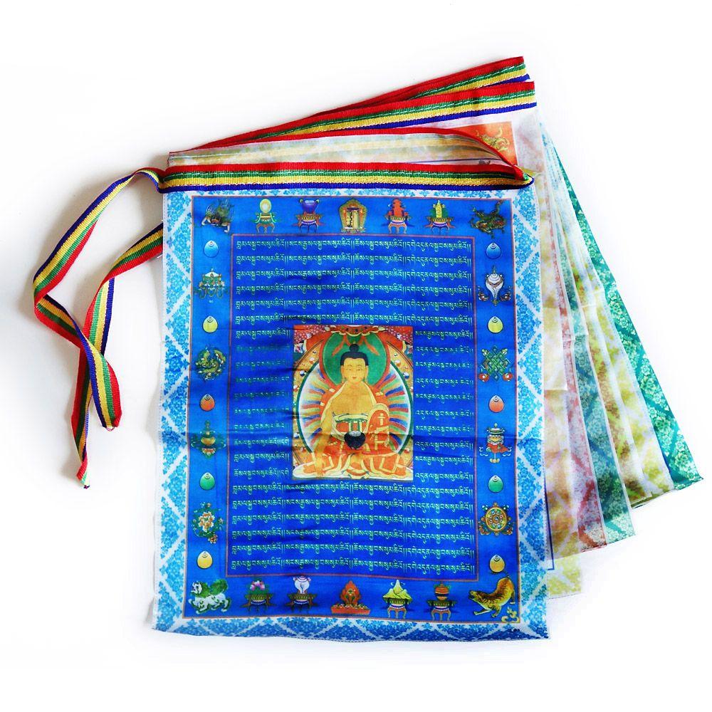 Drapeaux de prière bouddhistes tibétains, streamer Sutra, contiennent 10 drapeaux, drapeau décoratif de style Tibet, longueur totale 3 mètres, motif clair