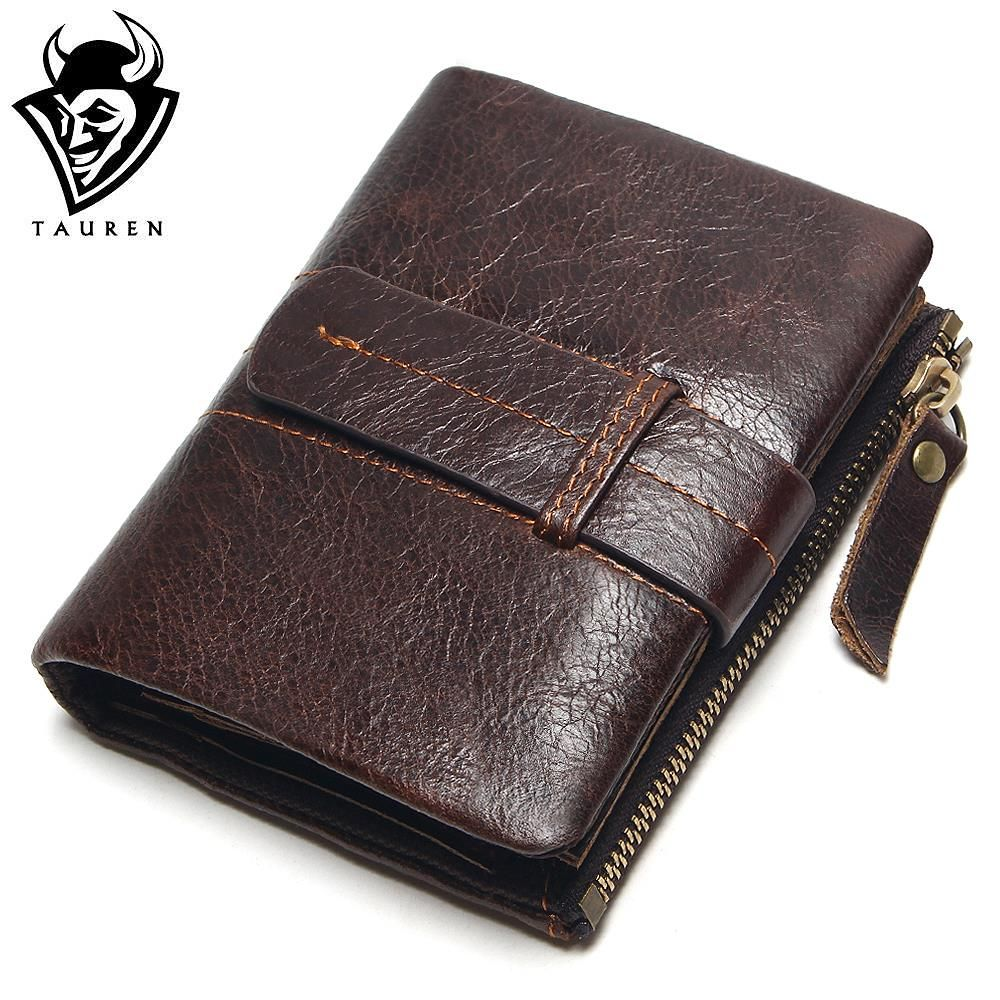 2018 Vintage Casual 100% Real Genuine Leather Oil Cowhide Men Mini Wallets Holder Coin Purse Pockets Small Men Wallet Coin Purse