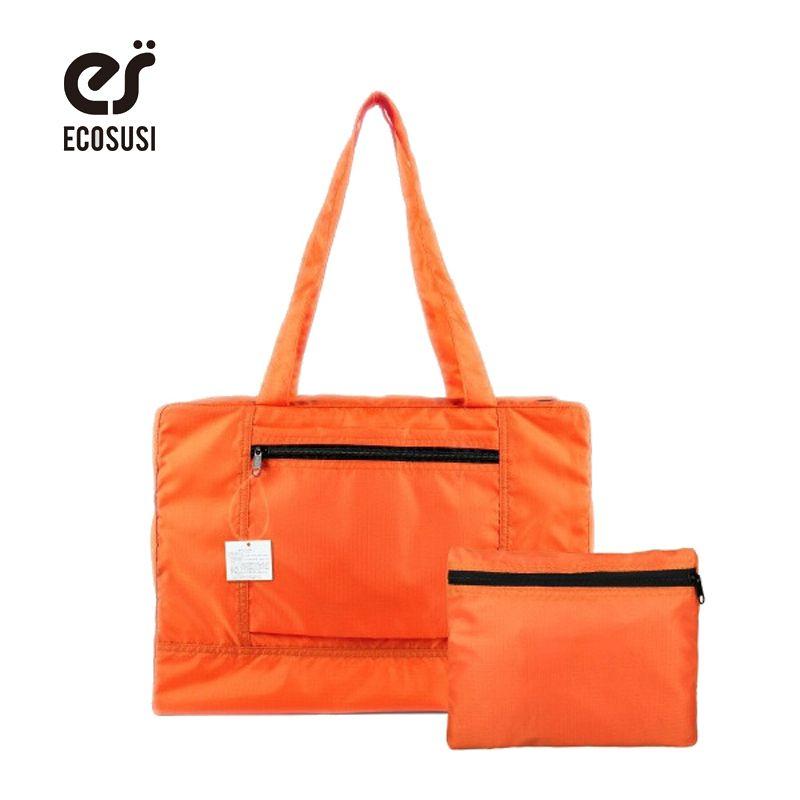 Ecosusi nueva hombres y mujeres viaje a prueba de agua unisex mano Bolsas mujeres equipaje bolsa de viaje plegable Bolsas 4 colores