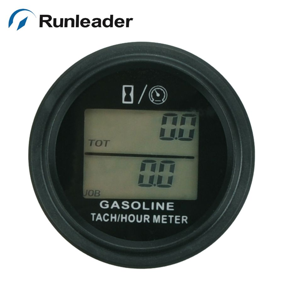 Large LCD backlight Hour Meter Tachometer For Gas Engine 2/4 Stroke Motorcycle ATV Boat Snowmobile Marine mower