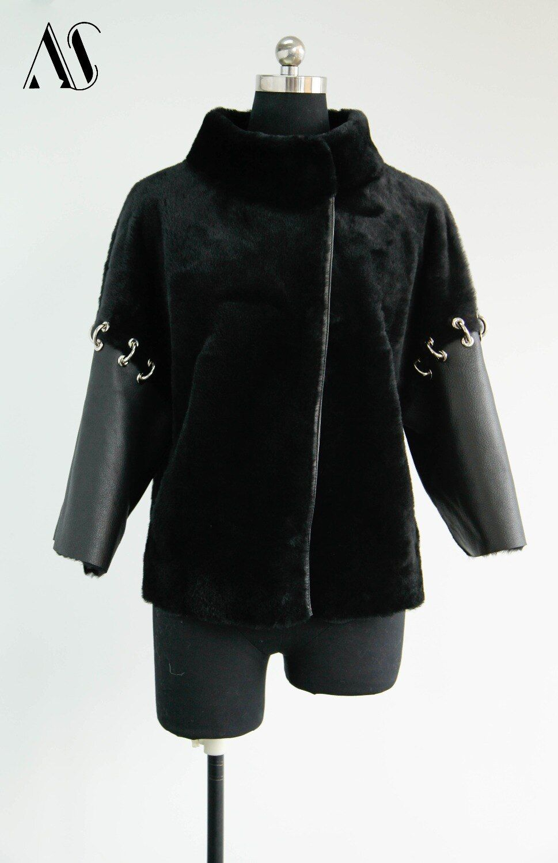 Arlenesain black shearling women fashion jacket 125