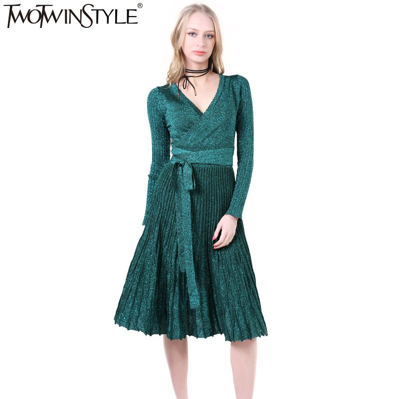 TWOTWINSTYLE 2017 Women Lace up Pleated Flare Midi Party Dresses Sexy V Neck Long Sleeve Vintage Clothes Korean New Black