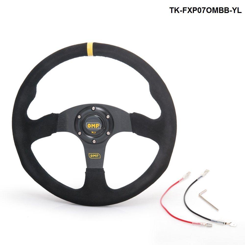 14inch 350mm OM Racing Steering Wheel Auto Steering Wheel Suede leather Steering Wheel TK-FXP07OMBB-YL
