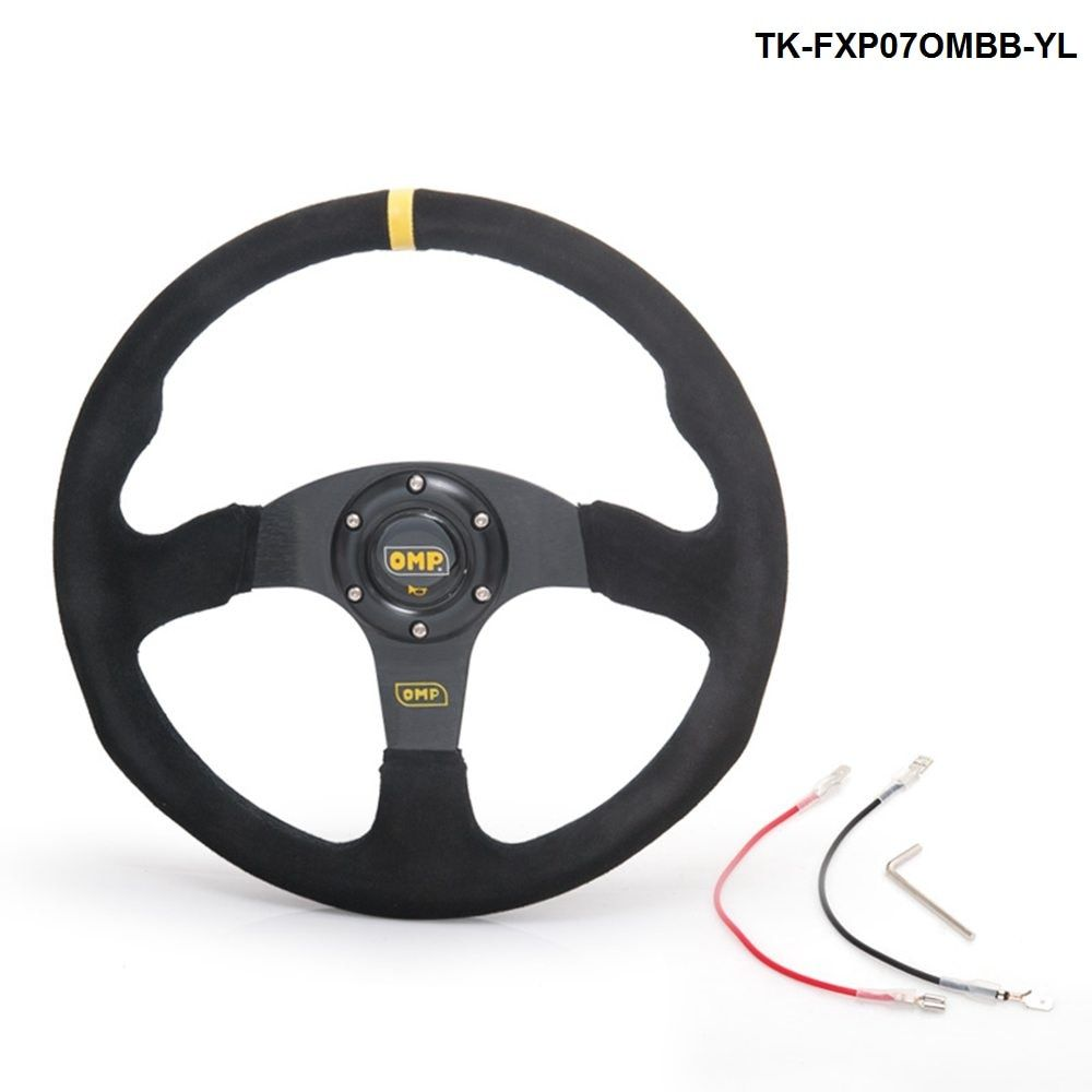 14inch 350mm OM Racing Steering Wheel Auto Steering Wheel Suede leather Steering Wheel TK-FXP07OMBB-YL