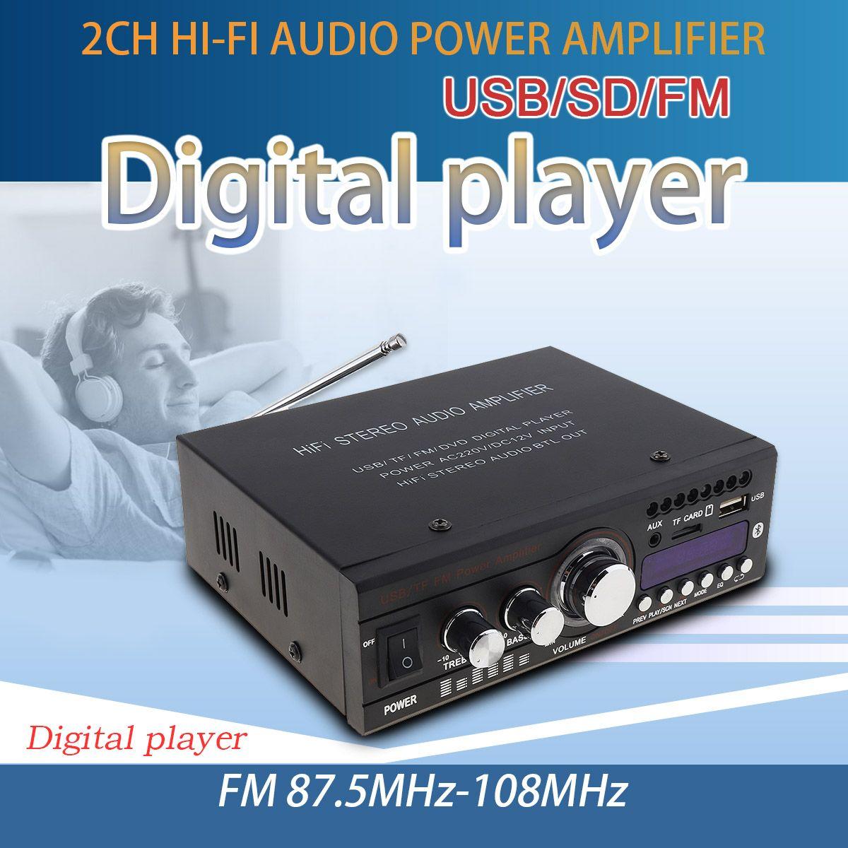 DC 12V / AC 220V Bluetooth 2CH HiFi Car Stereo Audio Power Amplifier FM Radio Auto Hi-Fi Digital Player Support USB SD FM DVD