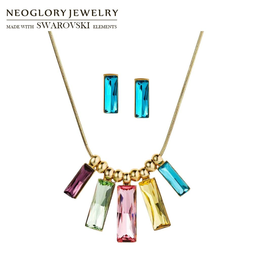 Neoglory FAIT AVEC SWAROVSKI ELEMENTS Bijoux En Cristal Ensemble Coloré Rectangle Conception Collier et Boucles D'oreilles Party Classique Dame