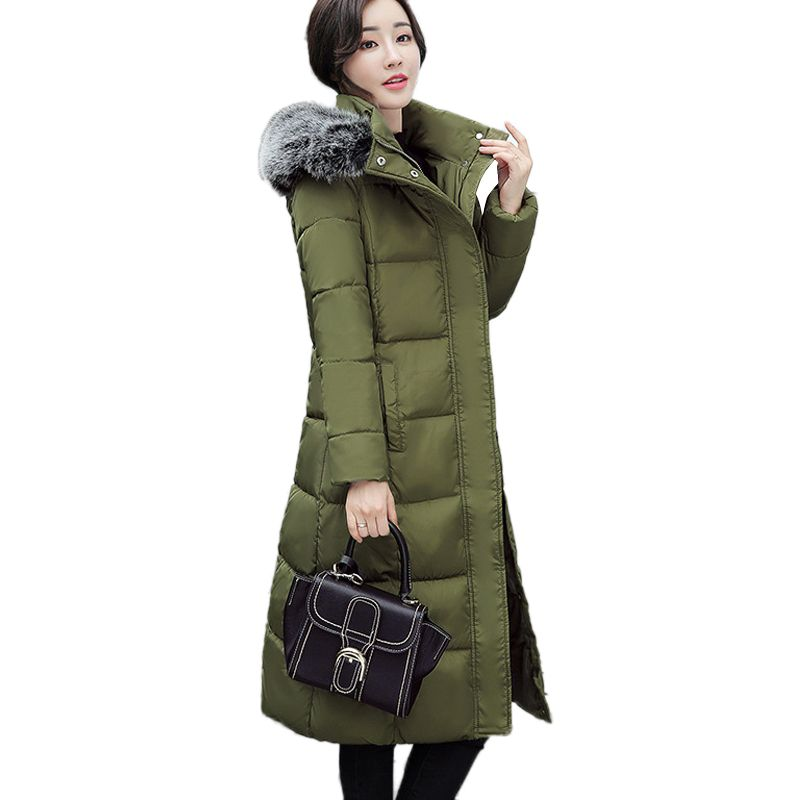 Plus size Winter Long Coat Womens New 2017 Thick Down Feather Cotton Jackets Big Fur collar Hooded Warm ArmyGreen Fashion Parkas