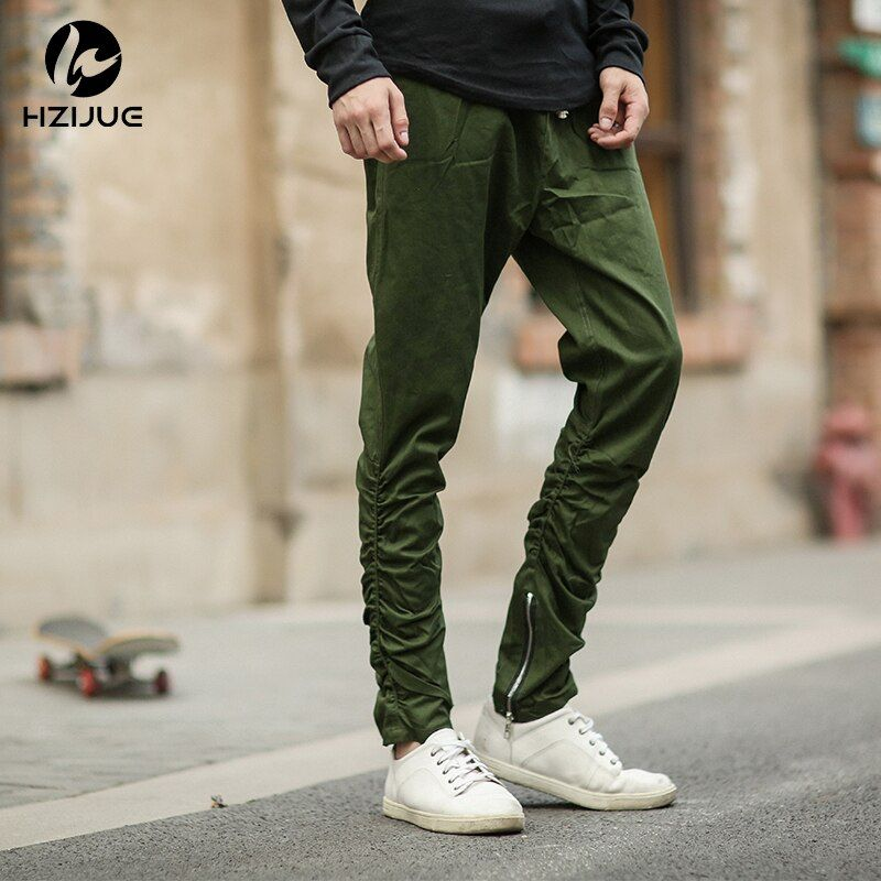 HZIJUE Justin bieber brand style side zipper men slim fit casual mens hip hop jogger biker pants swag sweatpants skinny trousers