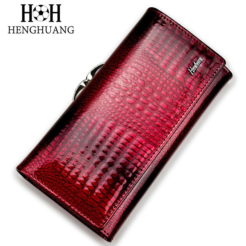 HH Alligator Womens Clutch Wallets Luxury Patent Crocodile Genuine Leather Ladies Clutch Purse Hasp Long Multifunctional Wallet