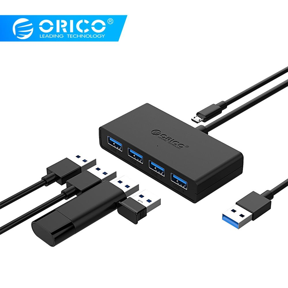 ORICO Mini USB 3.0 HUB 4 ports alimentation OTG avec Micro USB Interface d'alimentation pour MacBook ordinateur portable tablette ordinateur OTG USB HUB