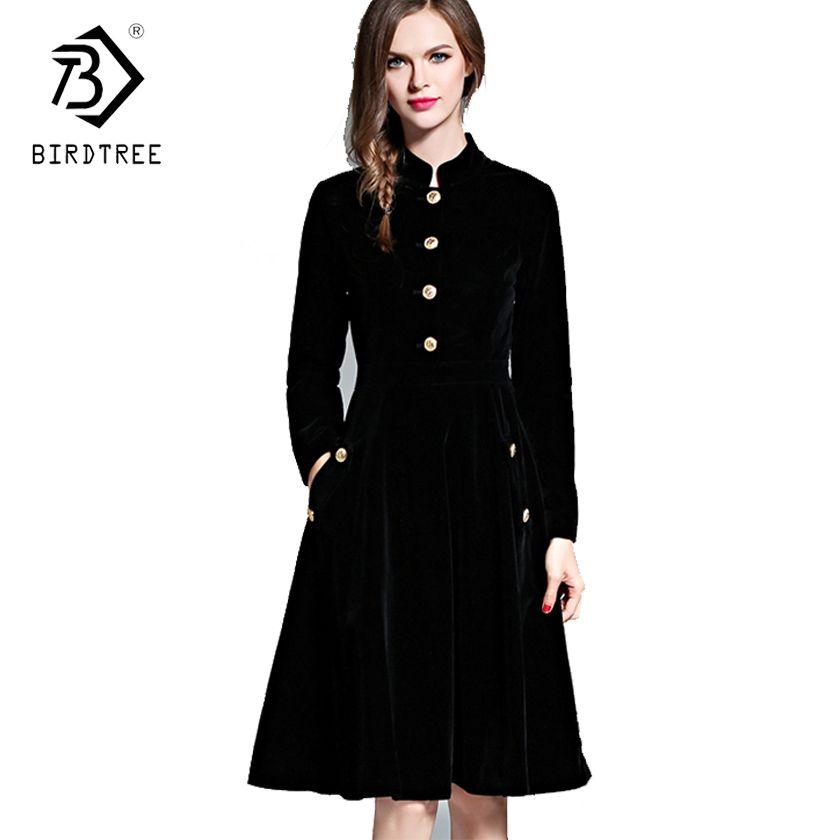 Elegant Black Velvet Dress Winter Dresses Retro Women 2018 Audrey Hepburn Long Sleeve Ladies Office Dress Vestidos Robe D7D221C