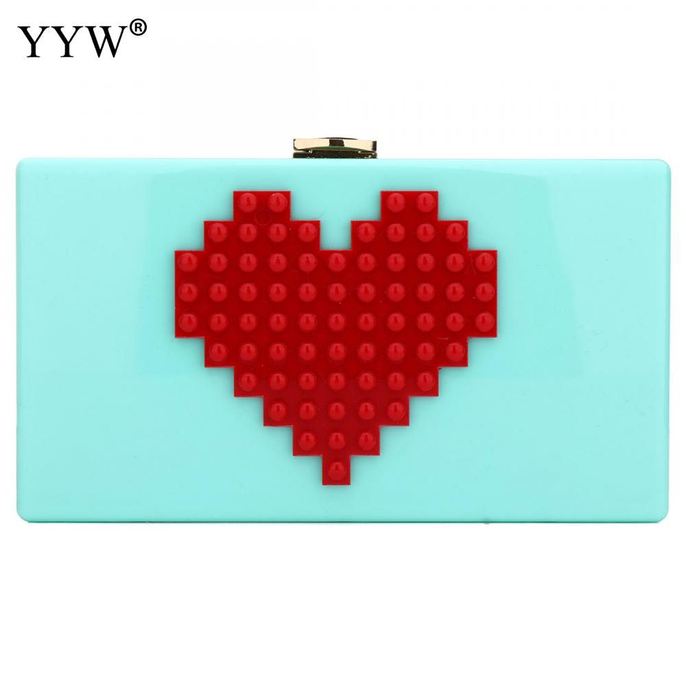 YYW New Mini Clutch Bagd Acrylic Love Splicing Small Evening Bags Fresh Heart Pattern Female Chain Shoulder Bag