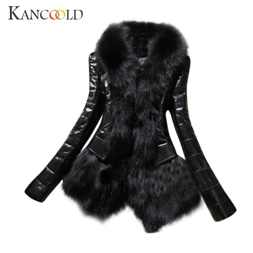 New 2017 Fashion Elegant Designer Women Warm Fur Collar Coat Leather Thick Jacket Overcoat Parka July0725