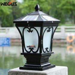 Surya pilar luar halaman dinding lampu posting, luar tahan air lampu taman, 25x25x47 cm 3 W