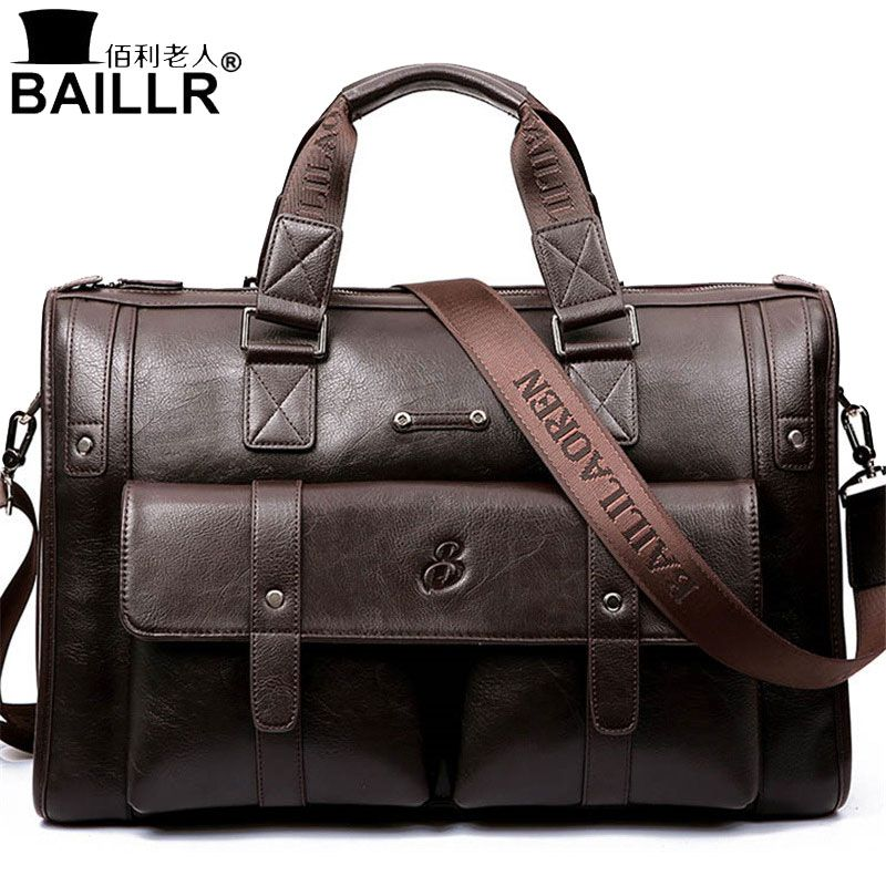BAILLR Brand Man Bag Leather Black Briefcase Men Business Handbag Messenger Bags Male Vintage Men's Shoulder Bag Large <font><b>Capacity</b></font>
