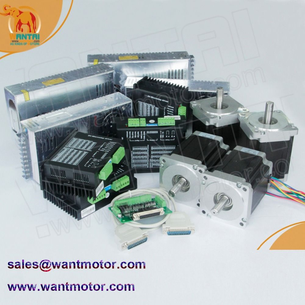 (Ship Worldwide)4 Axis Nema 34 Stepper Motor Dual Shafts 1600oz-in, 3.5A CNC Mill & DQ860MA driver 7.8A & power supply