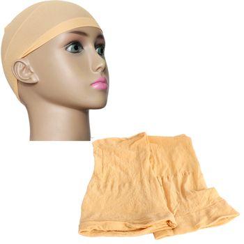 Beige 2Pcs Unisex Nylon Stretch Mesh Wig Liner Cap Soft Stocking Snood HB88