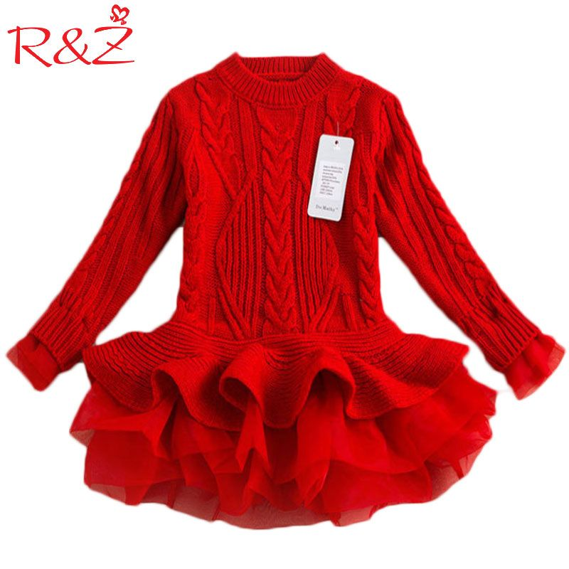 R&Z Autumn 2017 Thick Warm Girl Dresses Princess Knitted Winter Party Kids Sweater TuTu Dress Girl Clothes Children Clothing k1