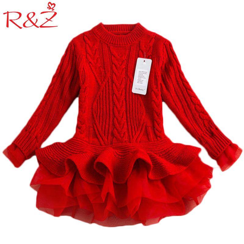R & Z automne 2019 épais chaud fille robes princesse tricoté hiver fête enfants pull TuTu robe fille vêtements enfants vêtements k1