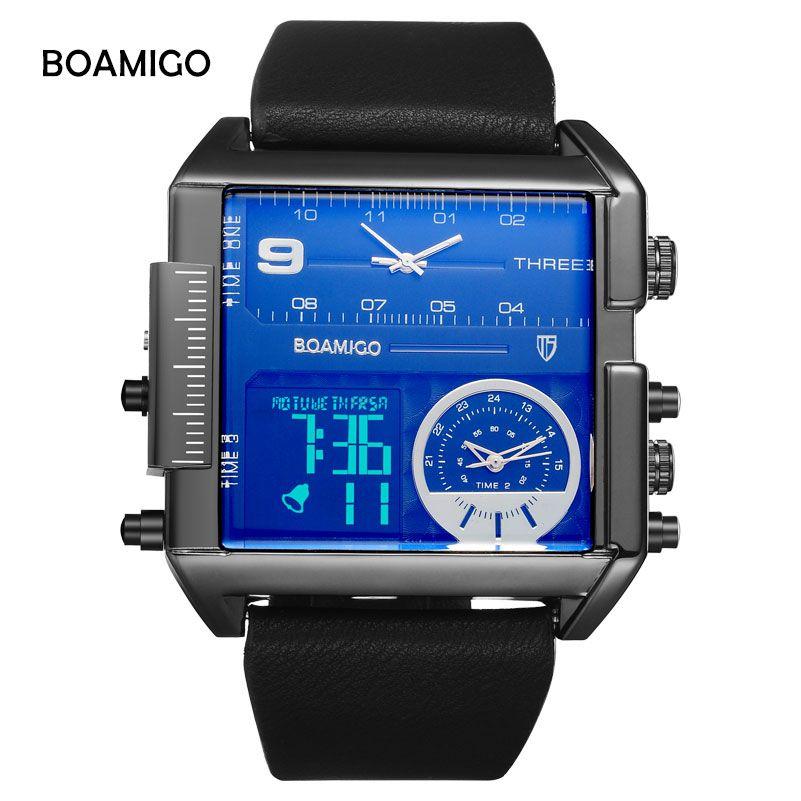 BOAMIGO Fashion Top Brand Men Sports Watches 3 Time Zone Man Watch Leather Strap Rectangle Quartz Wristwatch Relogio Masculino