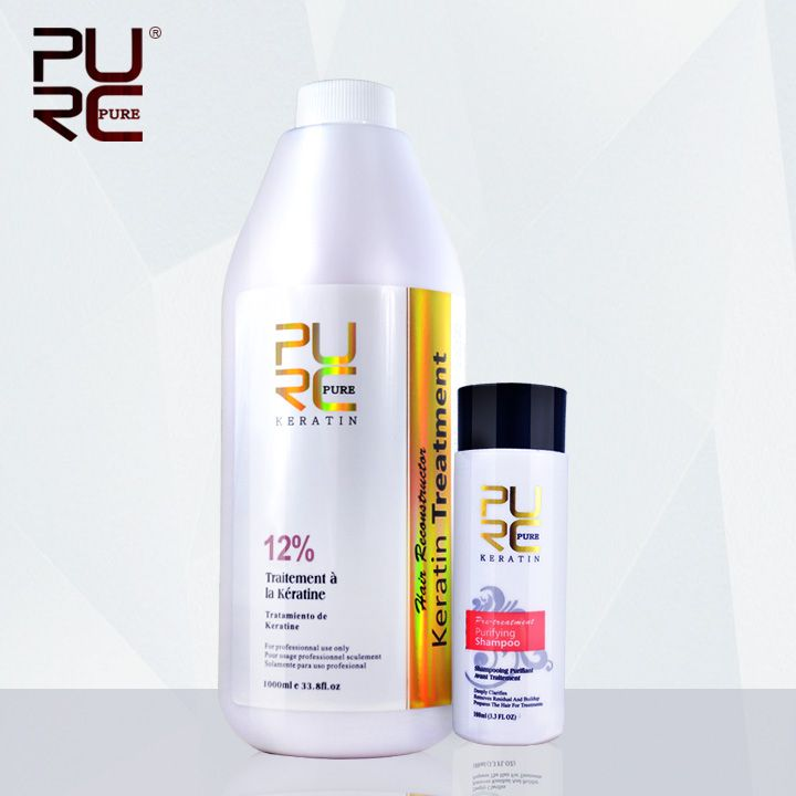 12% Formalin brazilian keratin treatment and 100ml deep cleanning shampoo wholesale Professional salon hairstyles hair care