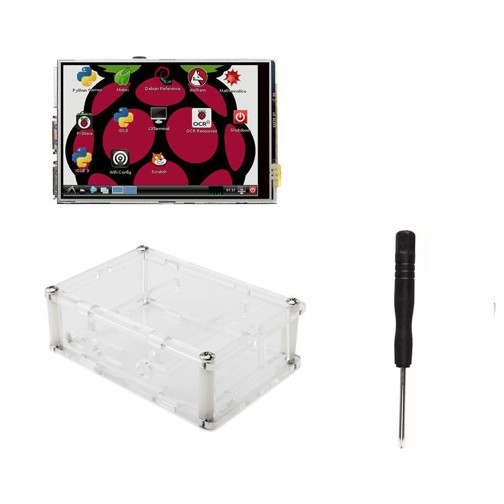 3.5 Inch TFT LCD Moudle 3.5 LCD TFT Touch Screen Display with Stylus for Raspberry Pi 3 Pi 2 + Acrylic Case + Screwdriver