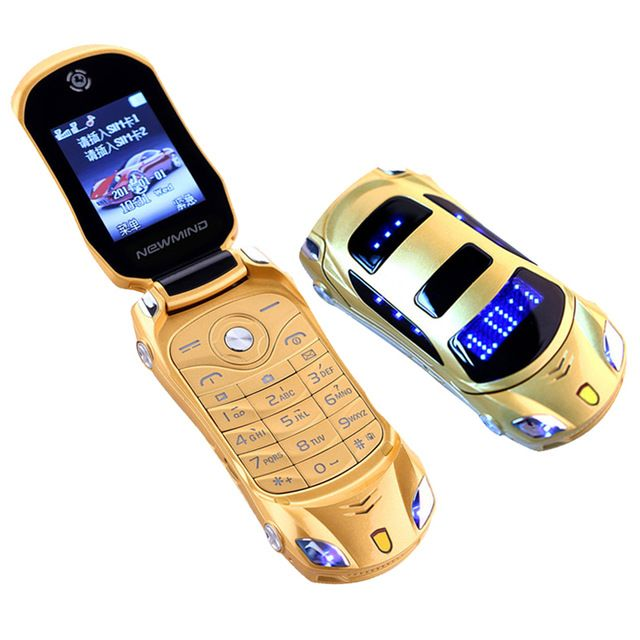 2017 NEWMIND F15 Flip Phone With Camera Dual SIM LED Light 1.8 inch Screen Luxury Car Cell Phone(Free Add Russian keyboard)