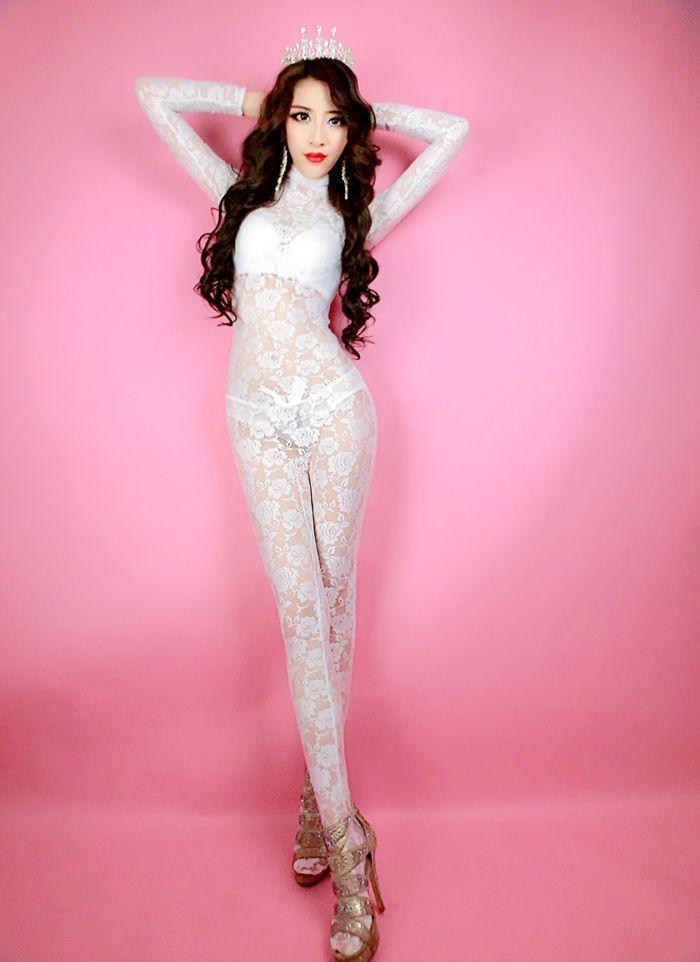 Plus Size Sexy Body Stocking Lingerie Body de Encaje de Cuello Alto de Manga Larga Blanca de Las Mujeres de Una Pieza Stretch Catsuit Trajes de Fiesta