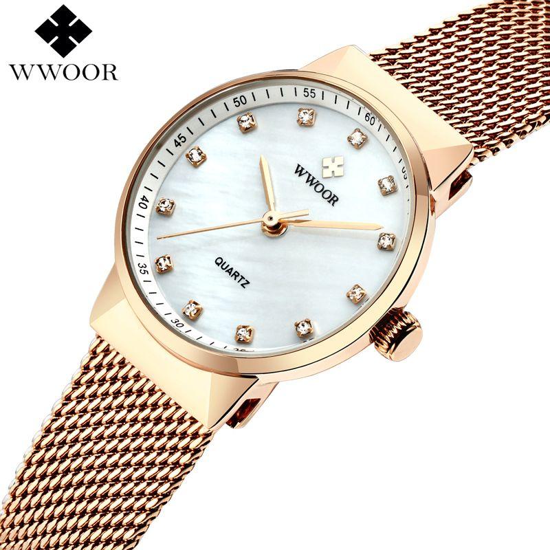 WWOOR Marque De Luxe Femmes Quartz Étanche Montre Dames Or Rose Petite Horloge Femelle En Acier Maille Bracelet Robe Femmes Montre-Bracelet