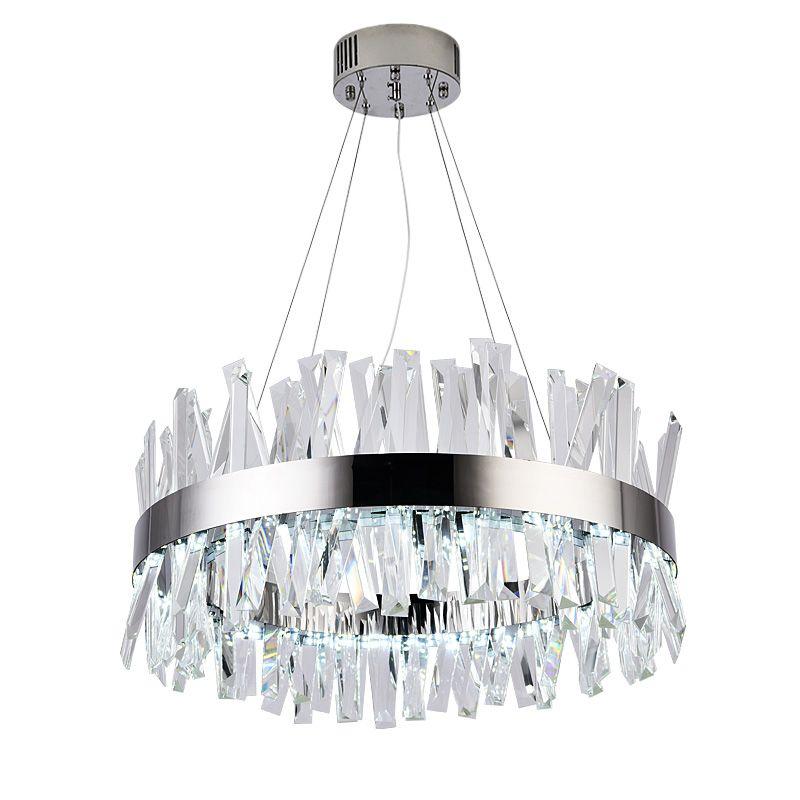 Neue moderne kristall kronleuchter edelstahl designer wohnzimmer led-leuchten runde chrome dekorative lichter
