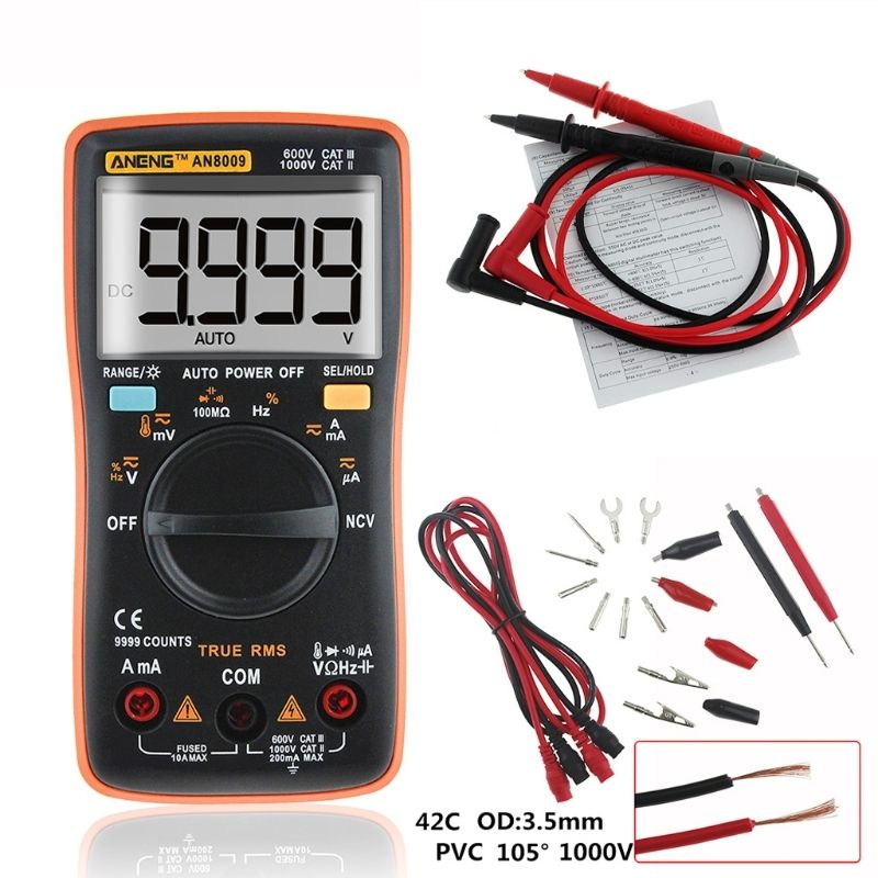 ANENG AN8009 True-RMS Auto Range Digital Multimeter NCV Ohmmeter AC/DC Voltage Ammeter Current Meter temperature measurement